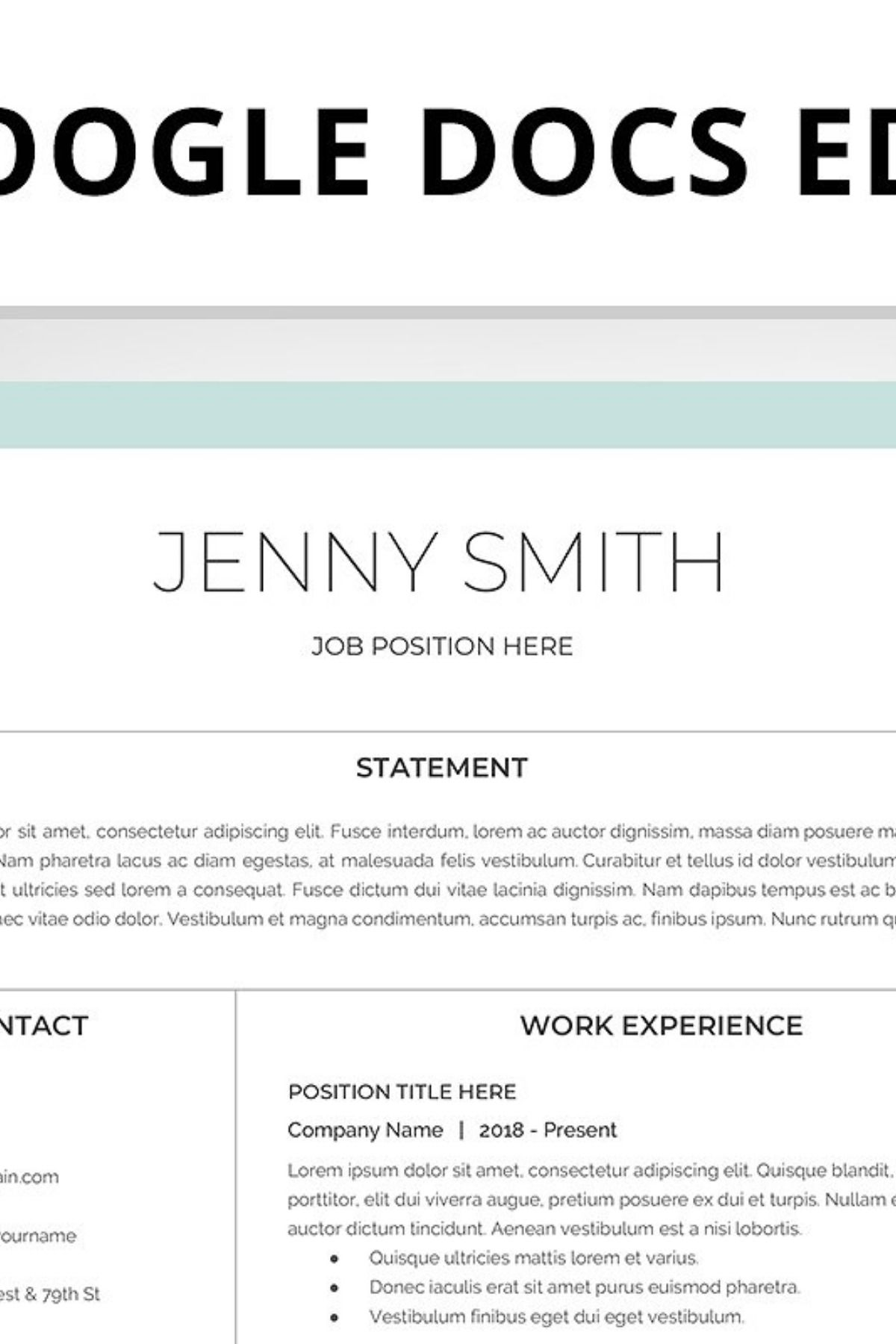 Resume Template, CV, Google Docs Resume template