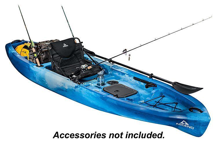 Ascend Fs12t Sit On Top Angler Kayak Blue Bass Pro Shops Angler Kayak Kayaking Kayaking Gear