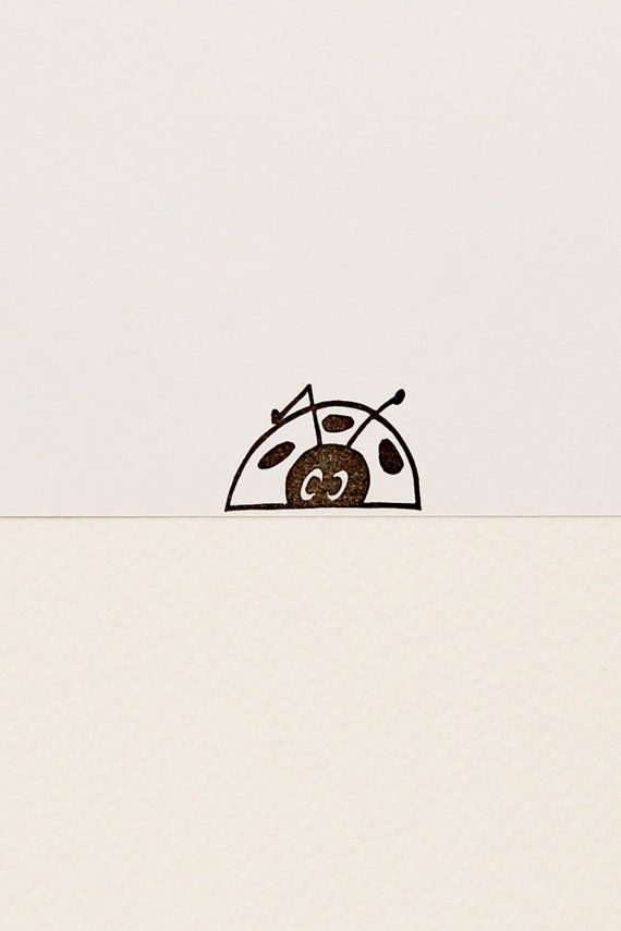 Funny Peek A Boo Ladybug Rubber Stamp Cute Hand By WoodlandTale
