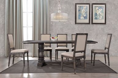 Checkout The Neo Classical Vintage Weathered Gray Dining Set