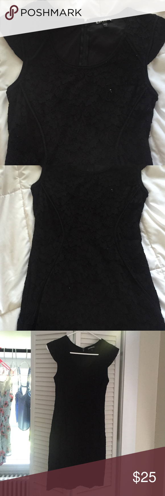 express size 0 black Lacey dress Express size 0 black Lacey dress. fitted, girly and prettty. perfect for a summer formal or semi formal event or even a night out. worn a few times in great condition.  Dresses