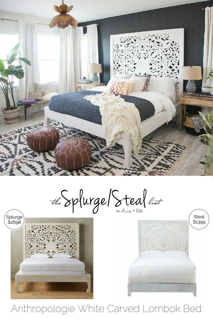 Anthropologie Lombok White Carved Wood Bed Bedroom
