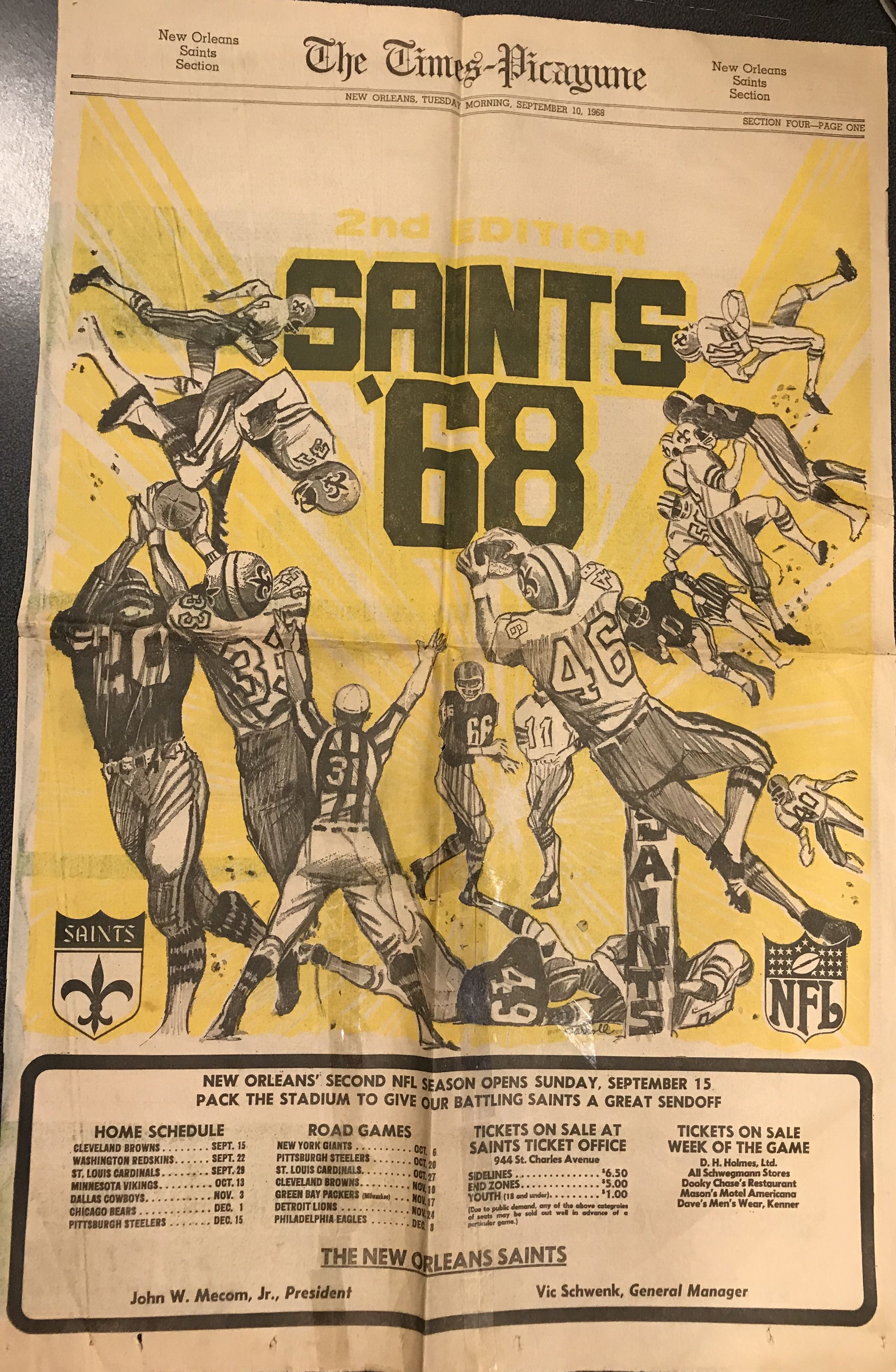 1968 Saints preview National football, Game tickets, Schultz