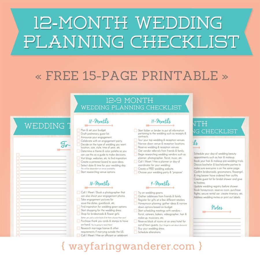 12Month Wedding Planning Checklist Free Timeline