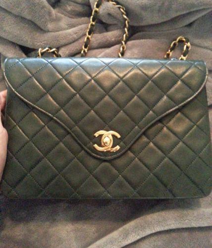 1cda634d7c2050 Authentic RARE Vintage Chanel Dark Green Lambskin Shoulder Bag | eBay