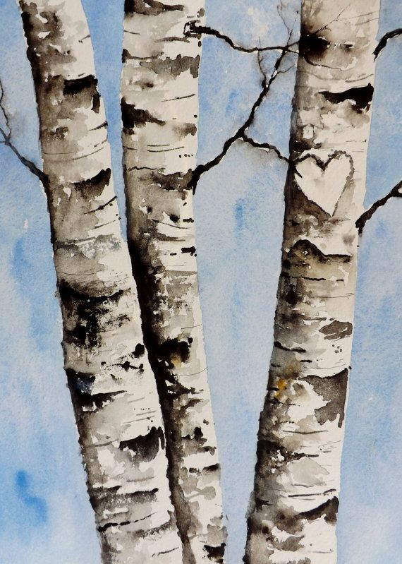 Watercolor Original Painting Birch Tree Heart Custom Your Own