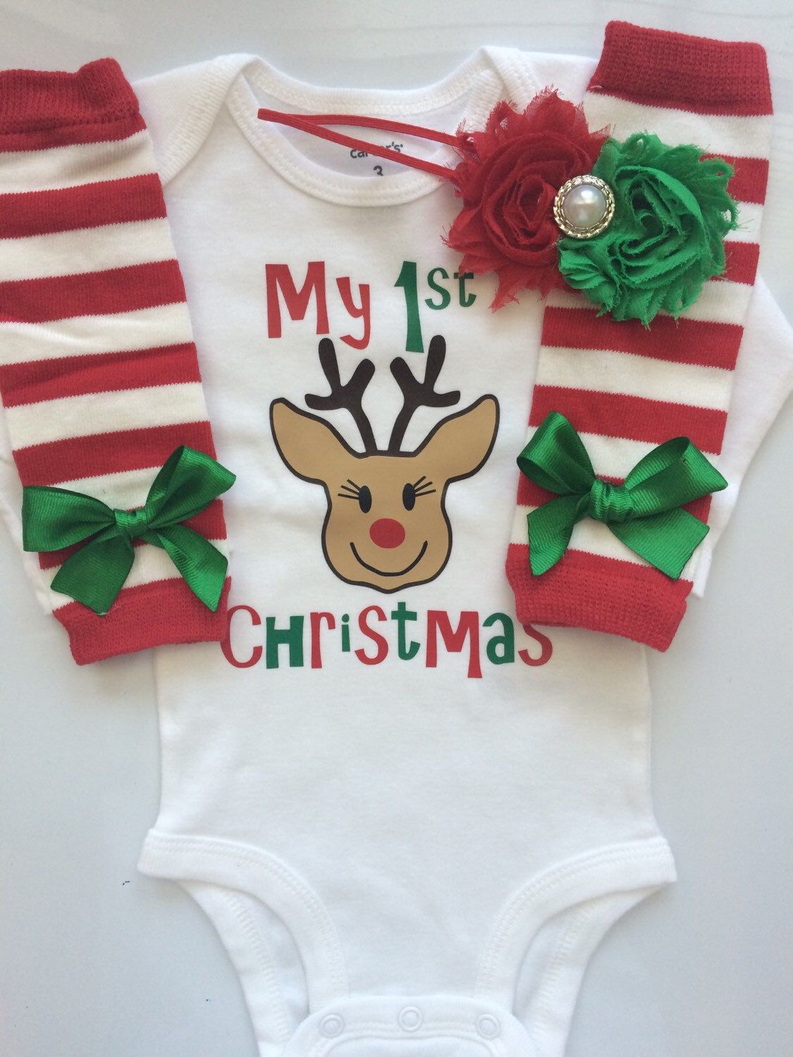 Baby Girl 1st Christmas outfit - Preemie Newborn Infant My first ...