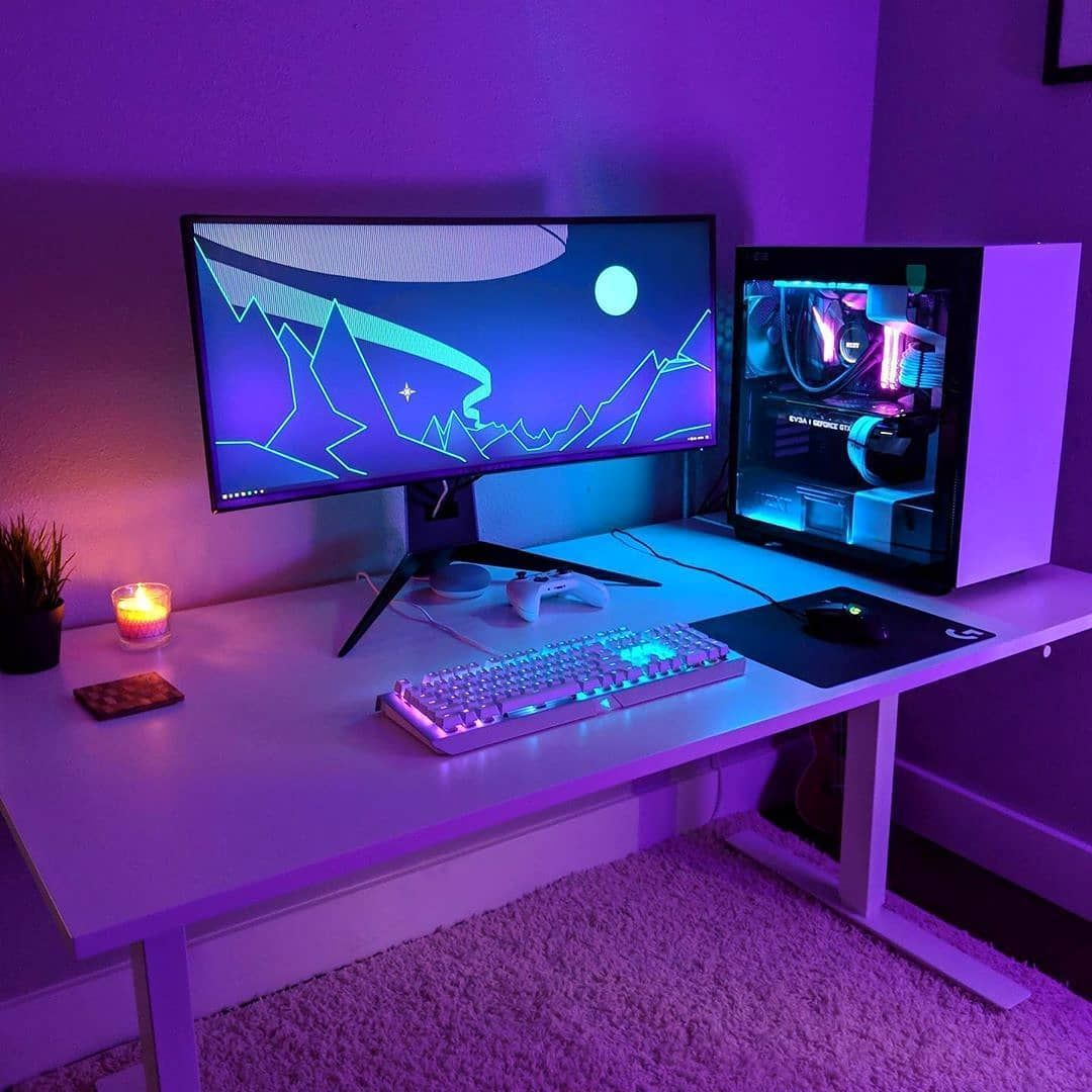 Do you use different colour tones to light your Setup #gamingdesk I like to use at least 2/3 colours to make it a bit more interesting and cool, single colour lighting looks over saturated and flat. #laptopsetup #desktopsetup #cleansetups #pcsetups #officesetup #isetups #isetup #rgblights #setupgaming #pcsetups #desksetup #deskspace #minimalsetups #setupinspiration #setupwars #battlestations #setupgamer #computersetup #gamingsetups #dreamsetup #pcsetup #battlestation #rgb #setup #gamingsetup #pc