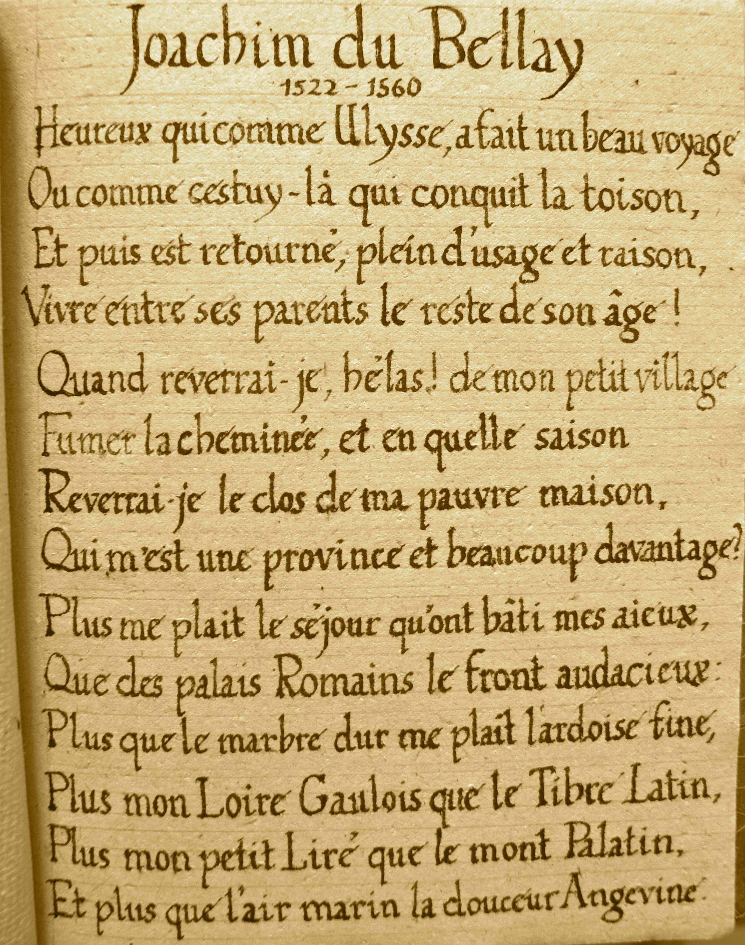 Po me de joachim du bellay 1522 1560 heureux qui comme ulysse