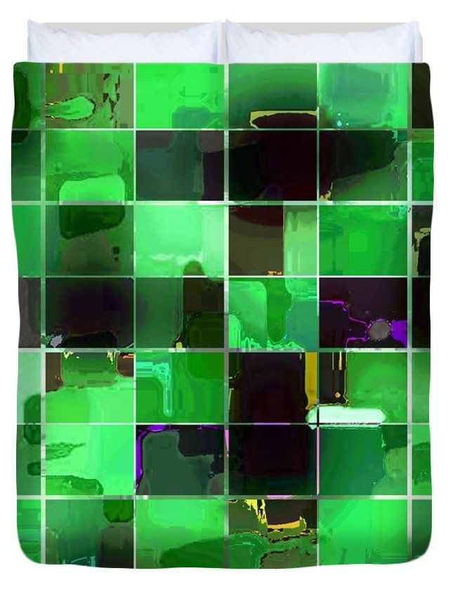 "Tiled Blocks Green Glow Queen (88"" x 88"") Duvet Cover"