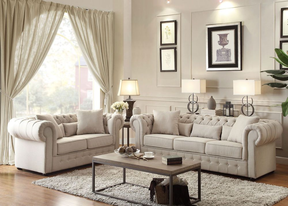 IRWIN - Traditional Beige Tufted Microfiber Sofa Couch Set Living Room Furniture  | eBay