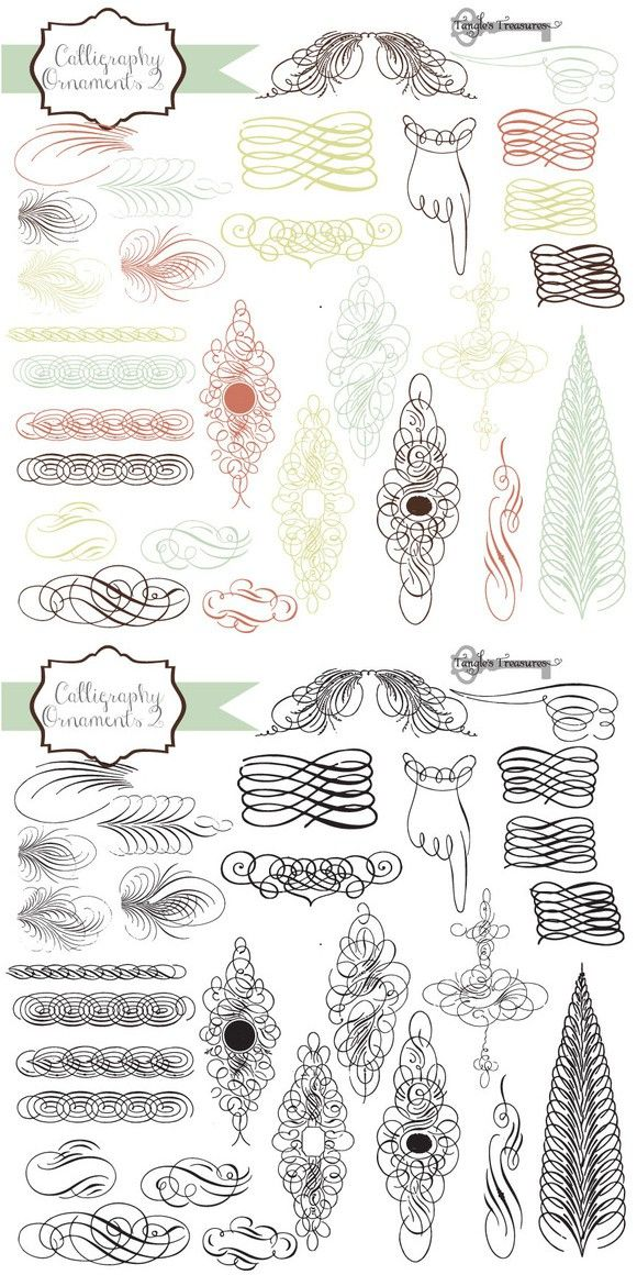 Vintage Calligraphy Ornaments Photoshop Brushes 600