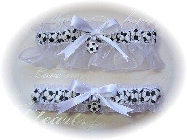 Soccer Themed Wedding Garter Set by GartersByKristi on Etsy, $37.00