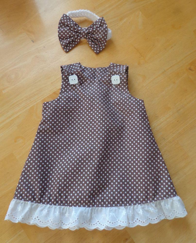 7e5cd33697a74 Newborn Baby Girl Dress   Headband Set Polka Dot Handmade 0-3 mo. Lace   Handmade  Everyday