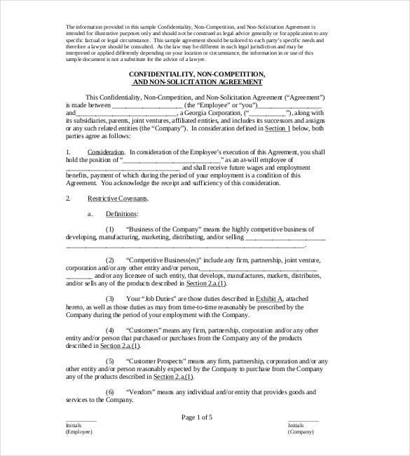 Non Compete Agreement Sample Format , Non Compete Agreement - confidentiality agreement free template