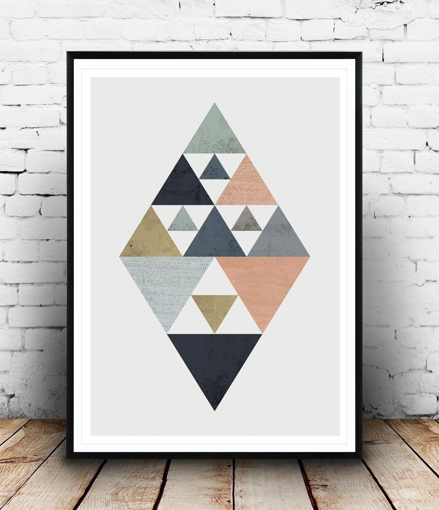 scandinavian poster triangle poster diamond print watercolor art abstract print geometric. Black Bedroom Furniture Sets. Home Design Ideas