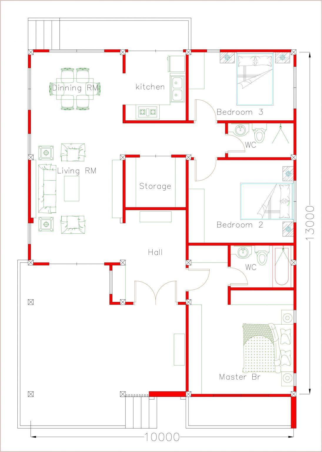 Modern Ranch House Plans 10x13 Meters 33x43 Feet Pro Home Decorz In 2020 Bedroom House Plans Bungalow Floor Plans Unique House Plans