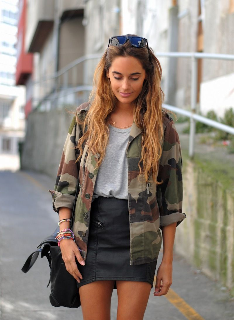 black leather skirt, light grey tshirt, army jacket and either