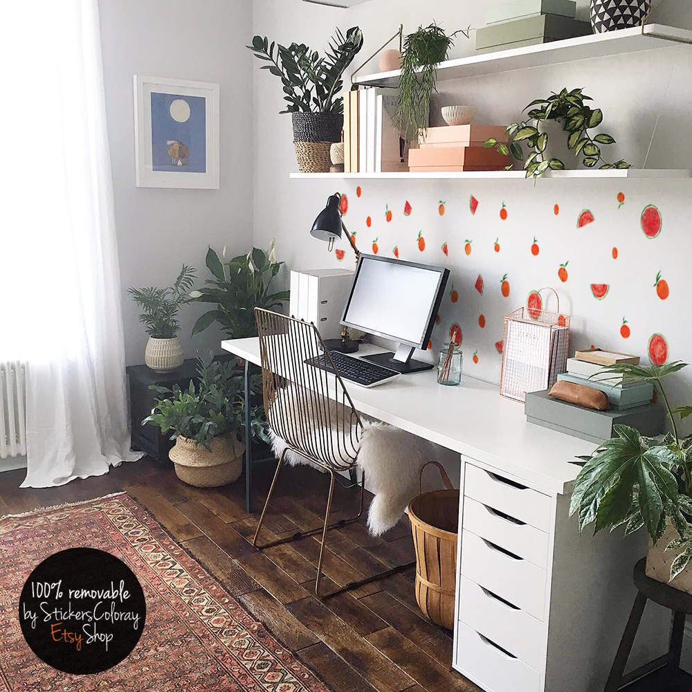 Homeoffice Jobs Schweiz Watercolor Fruit Wall Decor Orange Wall Decal Watermelon Wall