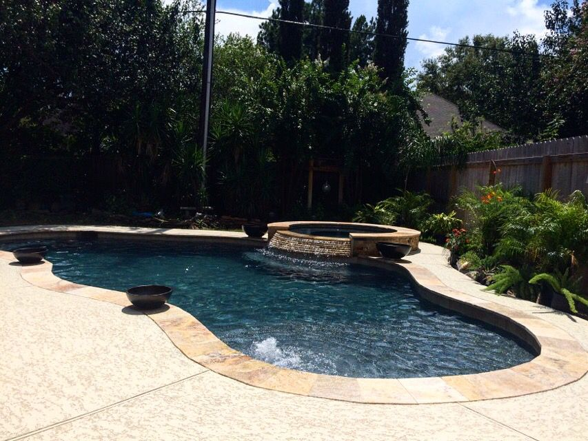 Beautiful Pool And Spa With Travertine Stack Stone Spill Way! Scabos  Travertine Coping And Splitface