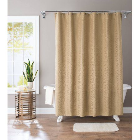Better Homes And Gardens Golden Ivy Jacquard Fabric Shower Curtain Gold Fabric Shower Curtains Shower Curtains Walmart Better Homes