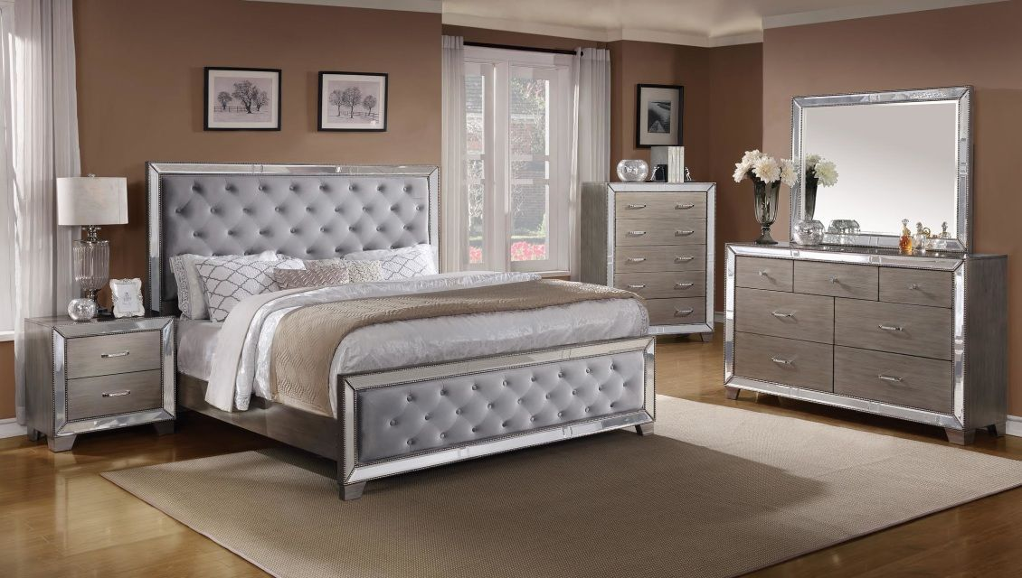 Cosette Mirrored Bed Bedroom Sets Queen Queen Bedroom Furniture