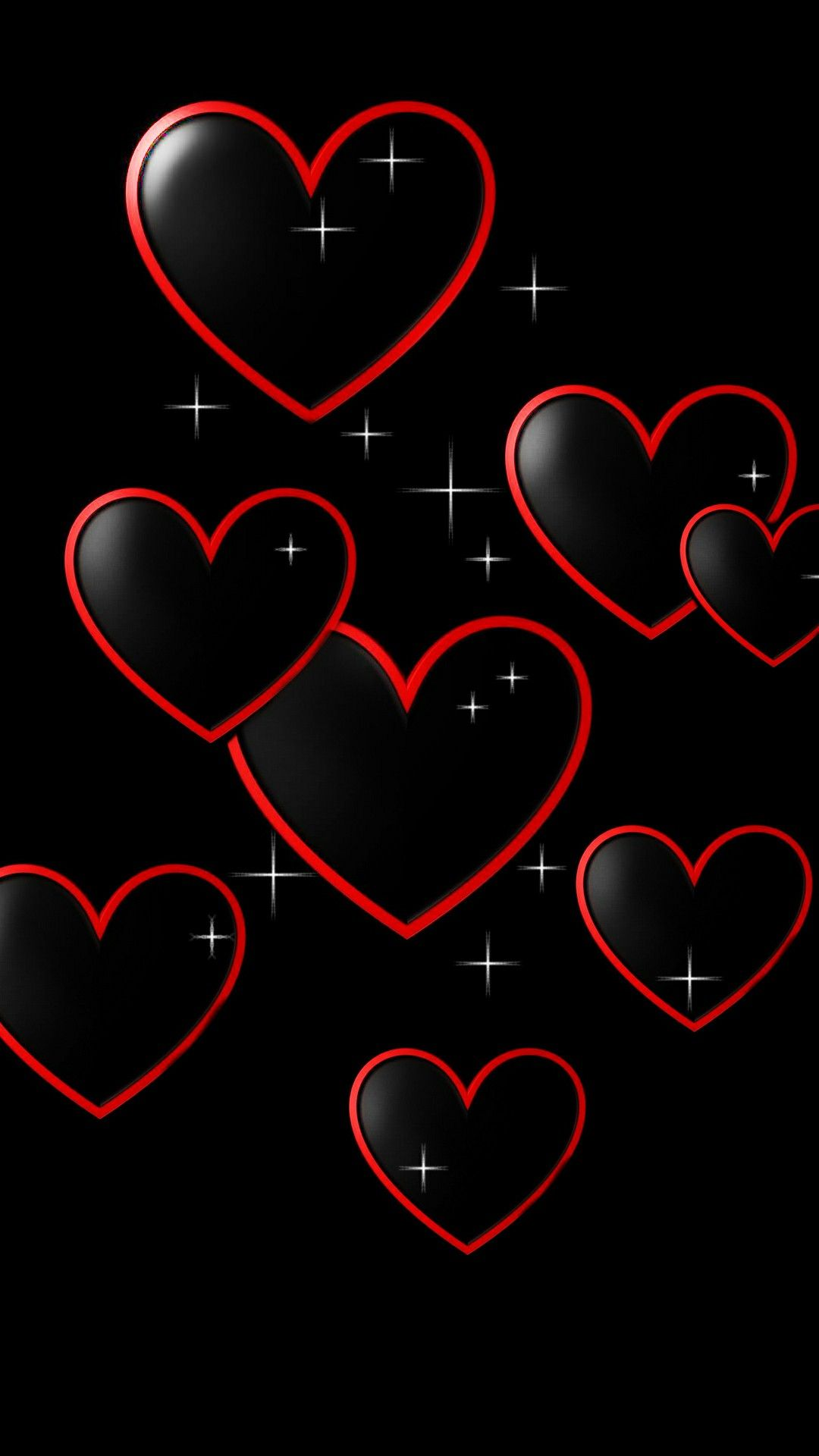 Red W Blk Hearts Heart Wallpaper Romantic Wallpaper Valentines Wallpaper