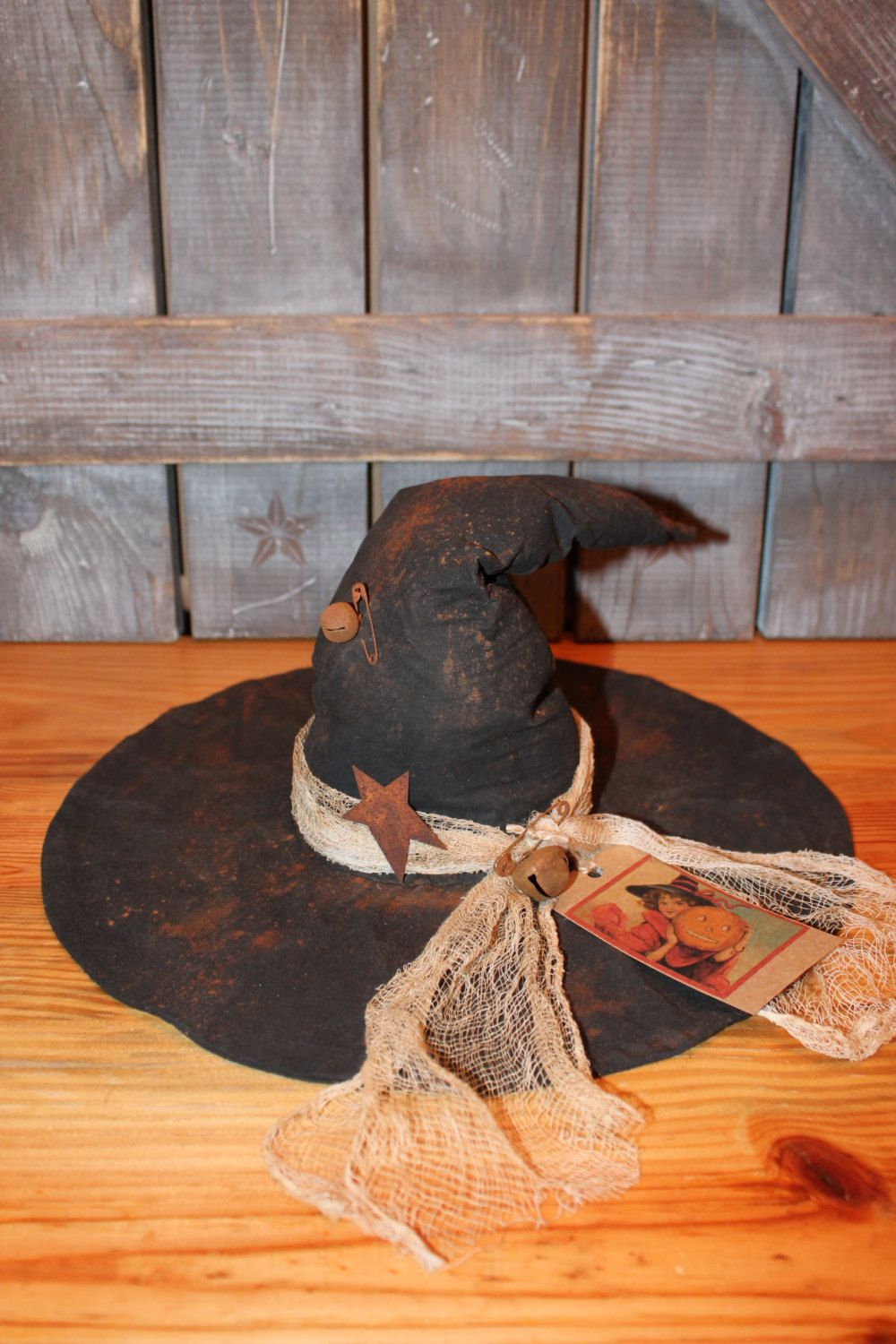 Primitive Witch Hat Halloween Decor by CountryRusticPrims on Etsy - Primitive Halloween Decor