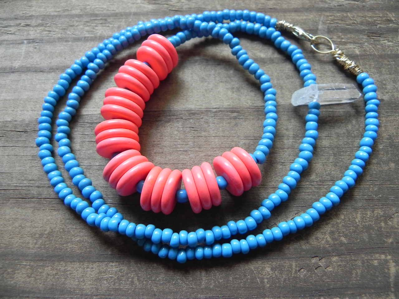 Statement necklace Long beadwork necklace blue and by AdrianaSoto