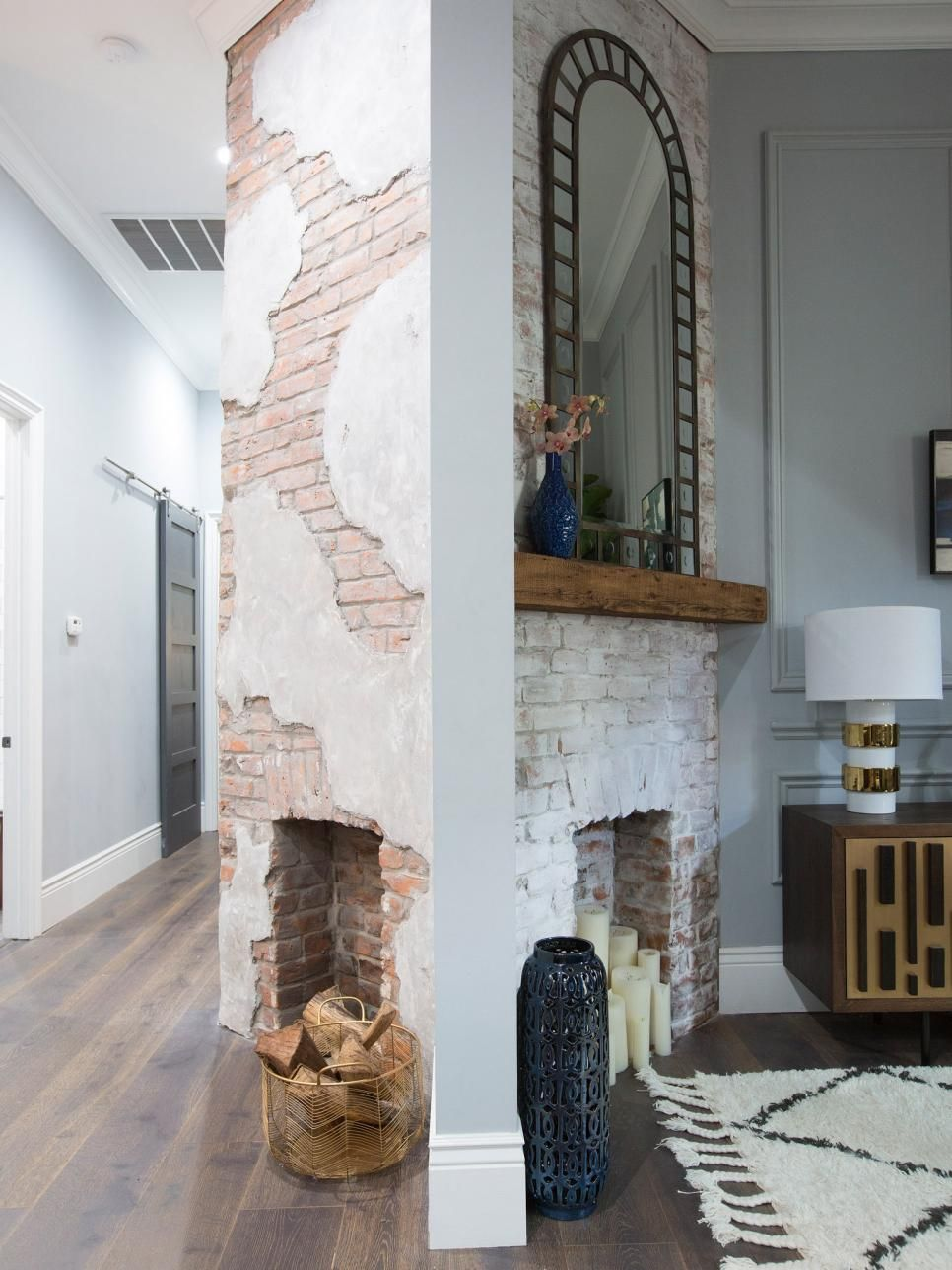 Brothers Take New Orleans Living Room Transformations Fireplace