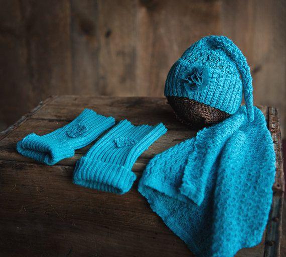 knit hat newborn turquoise blue shabby flower leg by PeekABooProps, $25.00