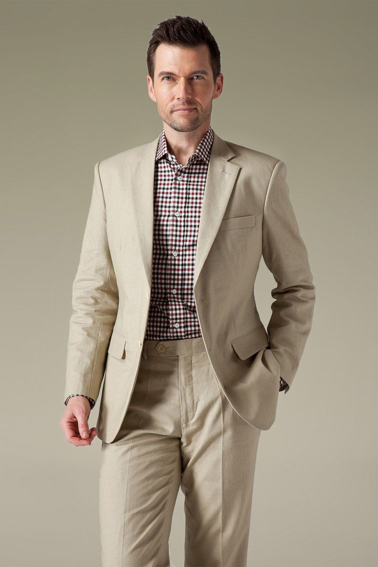 This simple beige linen suit with notch lapel stands out in ...