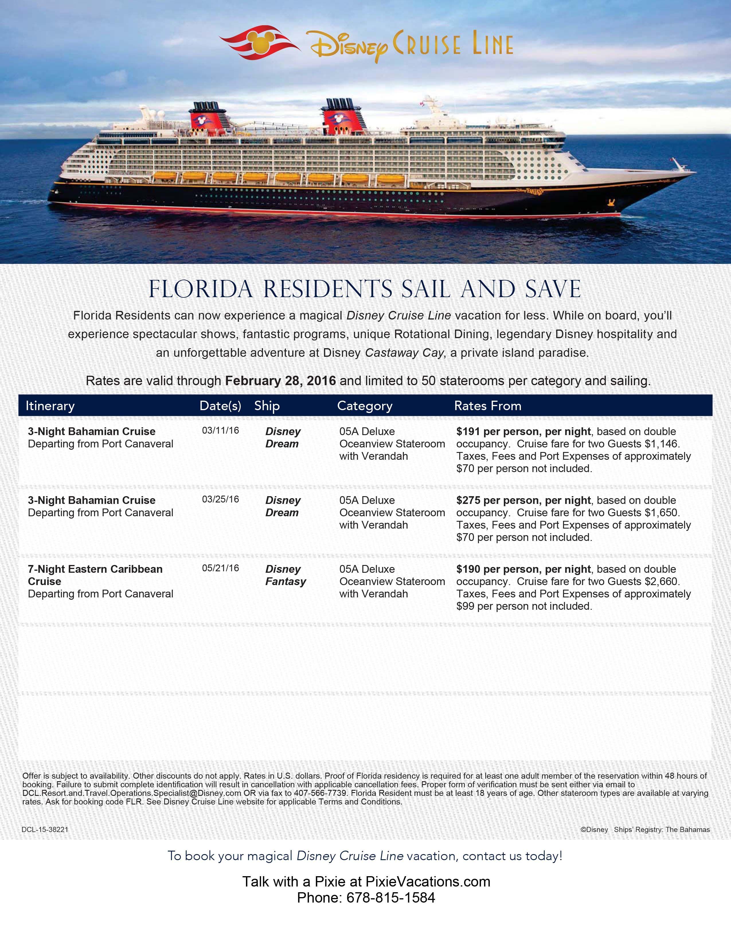 Disney Cruise Line Florida Resident Discounts Bahamas Cruise - Bahamas cruise prices