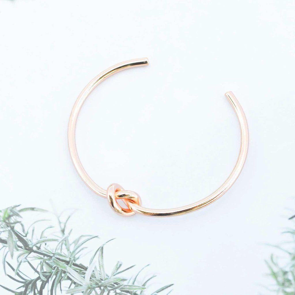 Majolie bracelet jonc noeud or rose majolie des for Offrir rose