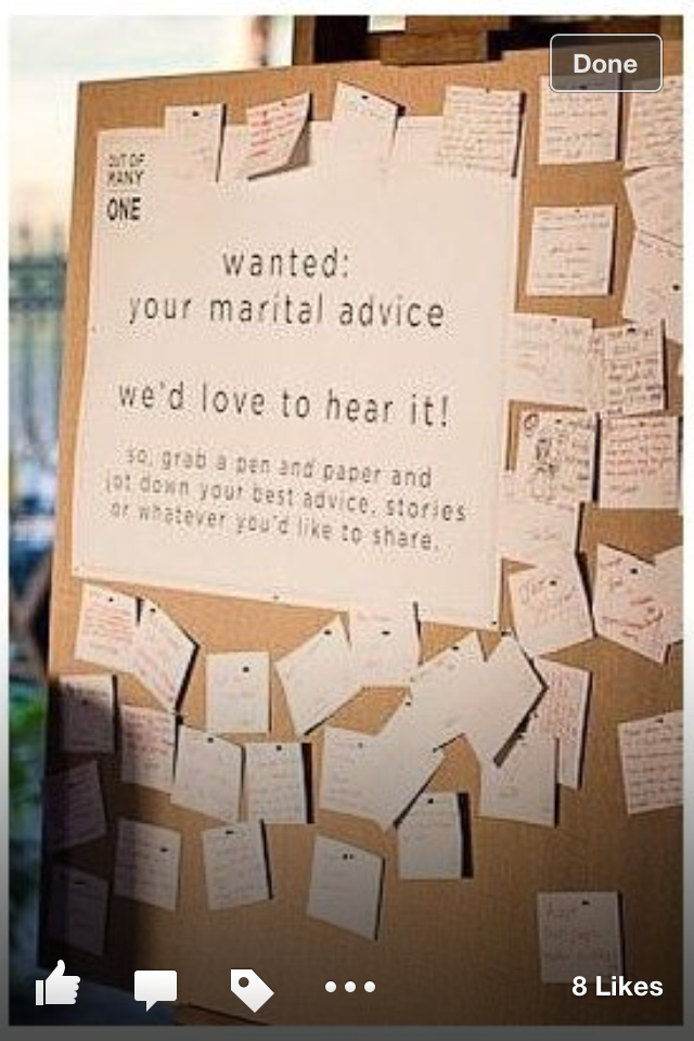 Love This Idea Of Posting Wedding Advice On A Pin Board Fun