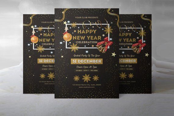 new year party invitation flyer template new year invitation card photoshop elements and ms word template instant download newyear invitation