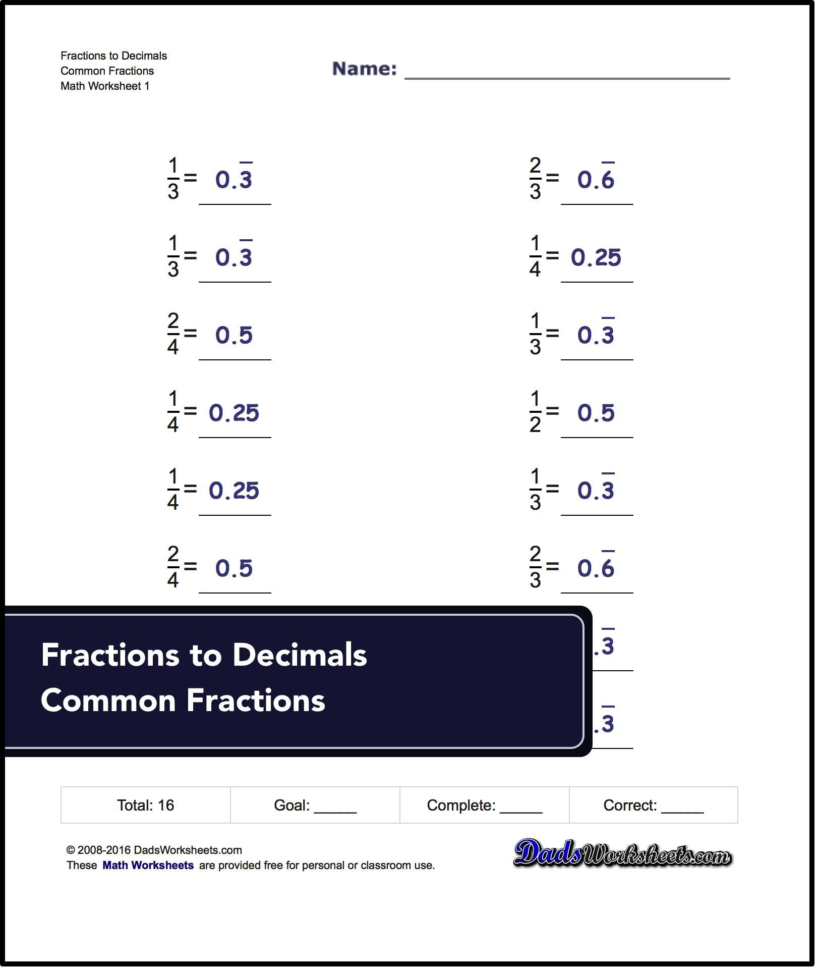 Fraction To Decimal Worksheets Need More Math