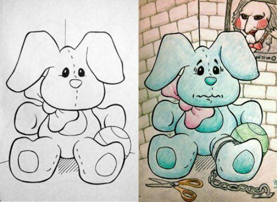 Coloring Book Corruption Saw Bunny