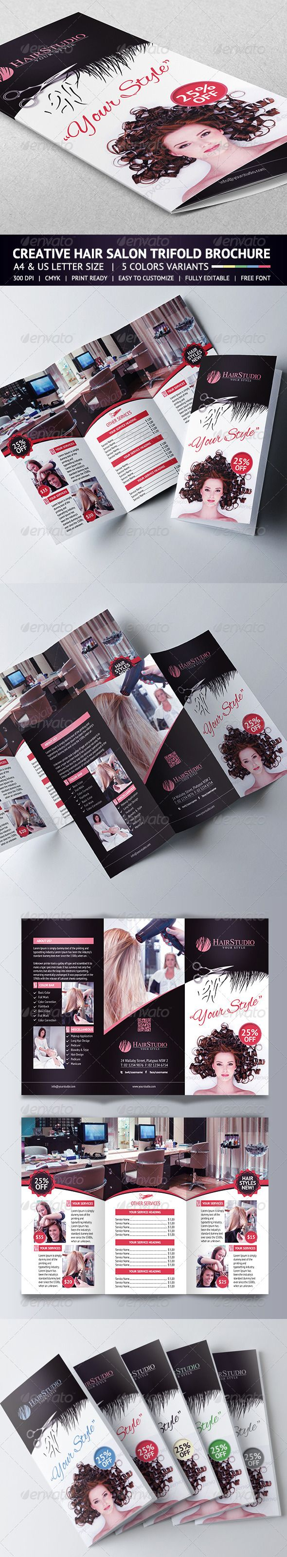 Hair Salon Trifold Brochure  Brochures A And Salons