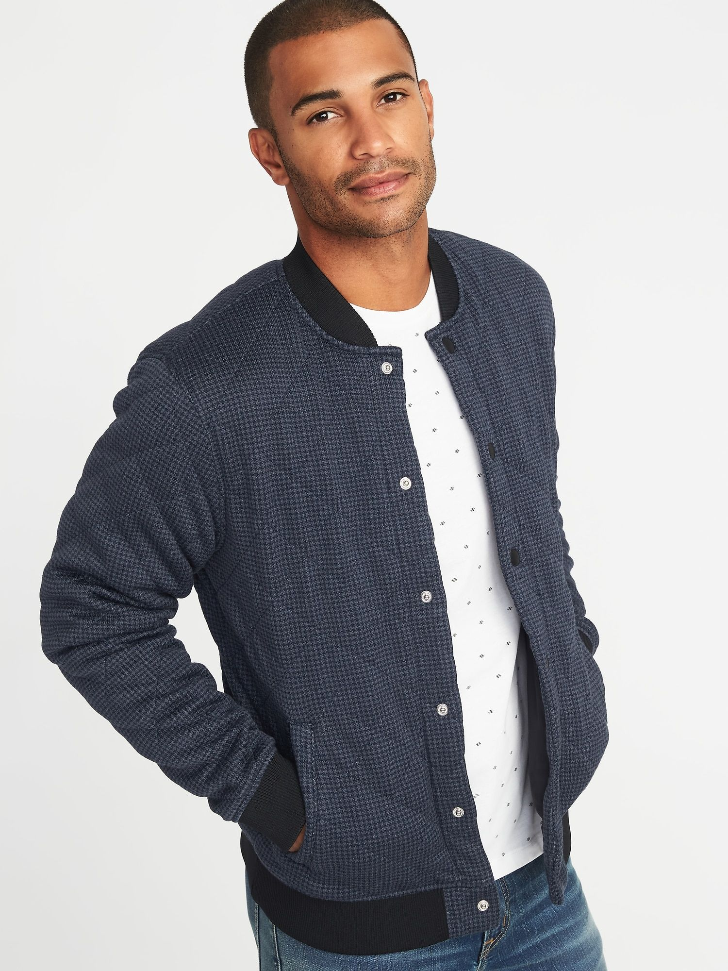 421c41ae506d5 Quilted Sweater-Fleece Bomber Jacket for Men
