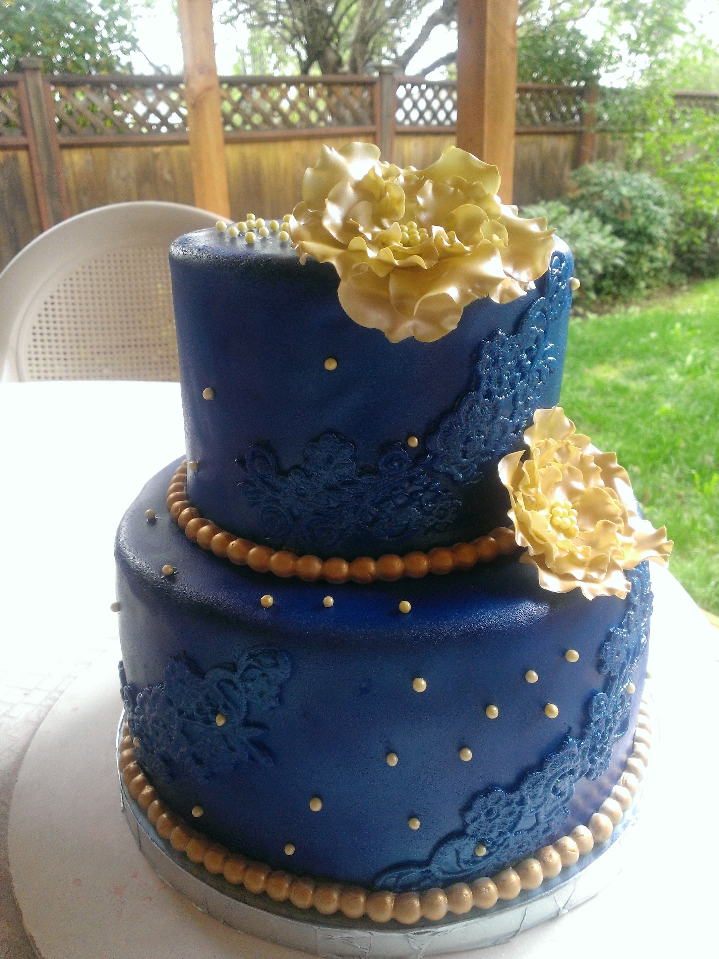 Royal Blue And Gold Cake With Images Blue Birthday Cakes Gold