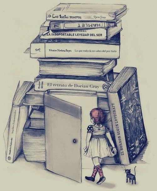 Chica leyendo un libro tumblr dibujo buscar con google - El taller de lo antiguo ...