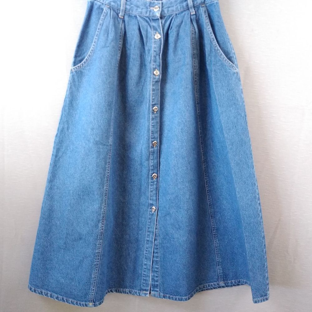 7c22188b91 Modest Long Denim Skirt Gored Blue Jean Med Wash Button Front Side Pockets  Sz 10 #ClassicElements #Modest #Casual