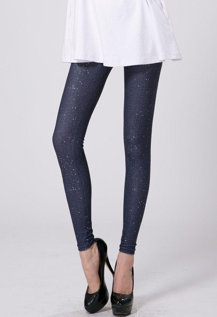 Diamond Decor Denim Legging