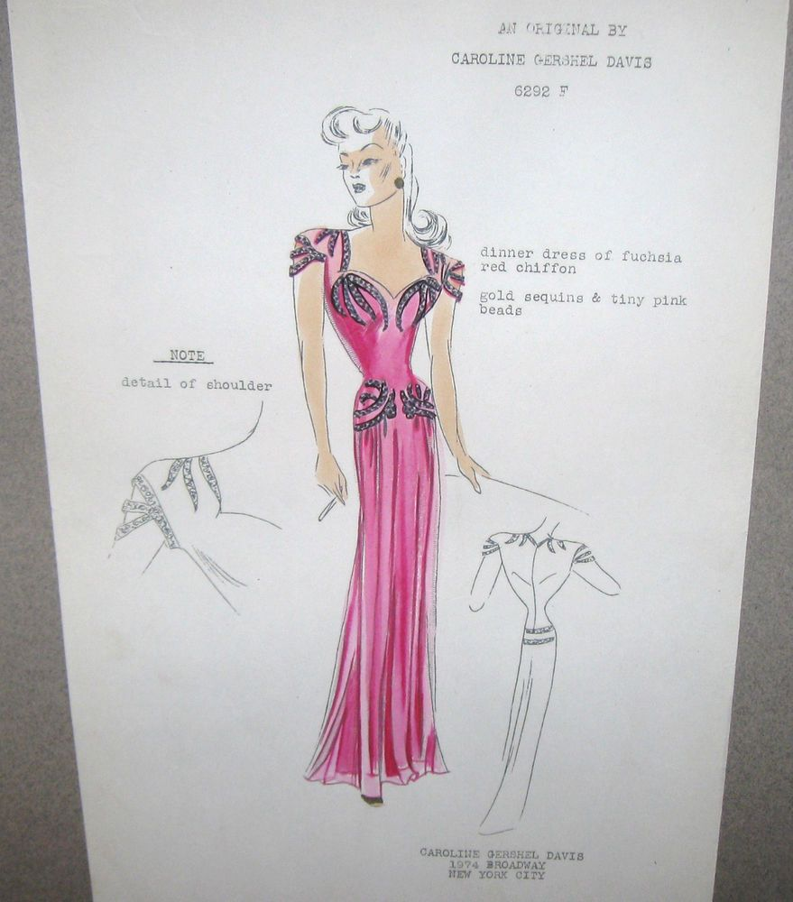 Original drawing sketch s ny designer dinner gown dress fuchsia