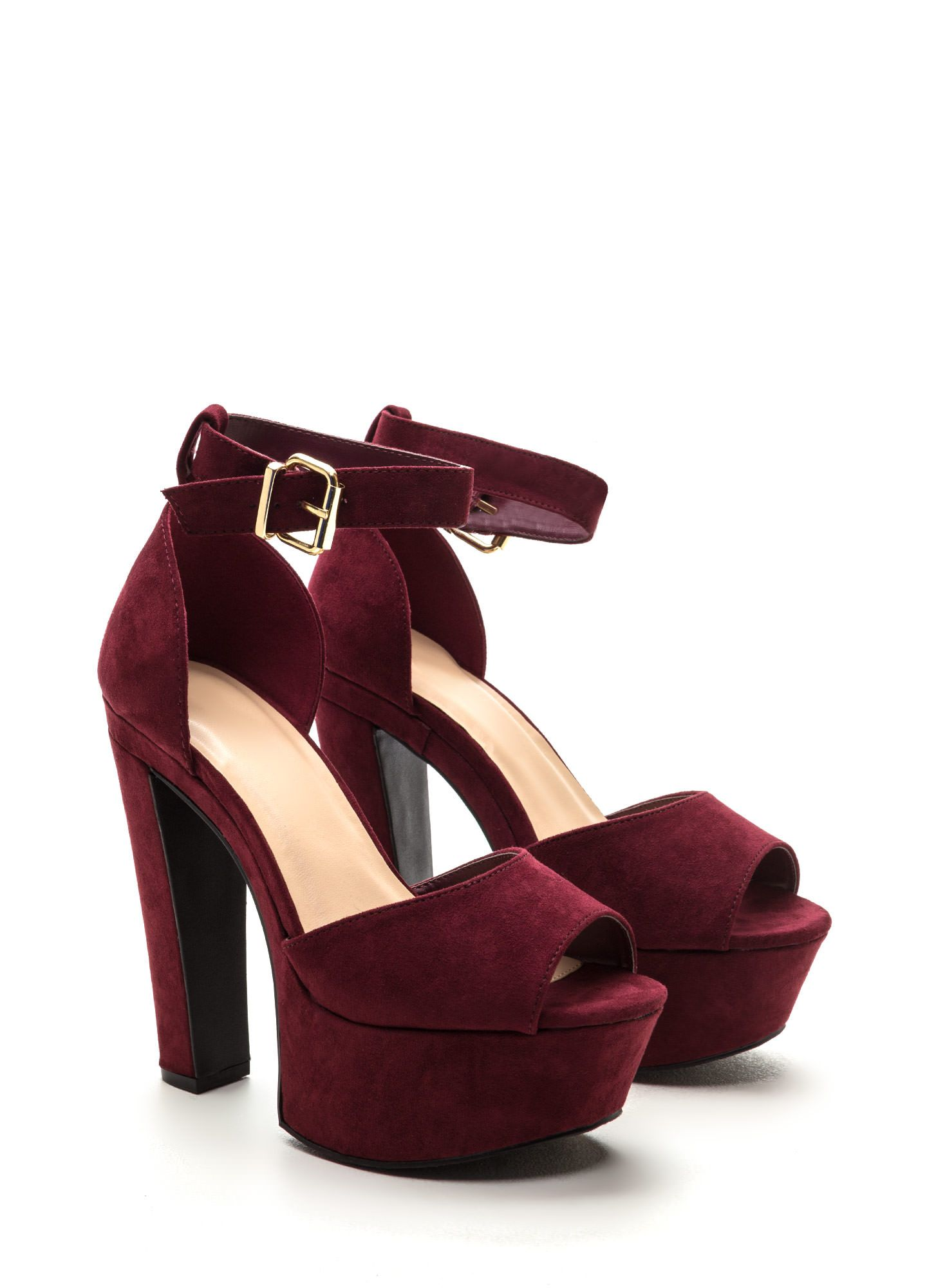 Burgundy Chunky Heels | Shoes | Pinterest | Footwear