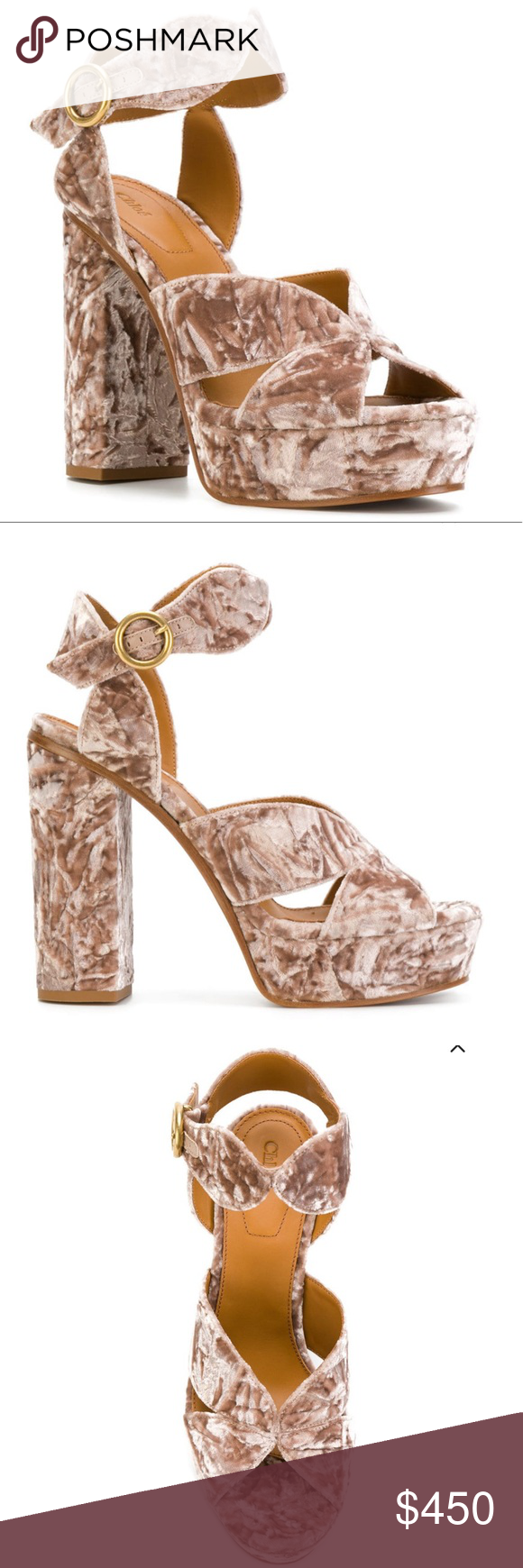 6936f6475d Chloé Graphic Leaves crushed-velvet platforms Graphic leaves plateau ...