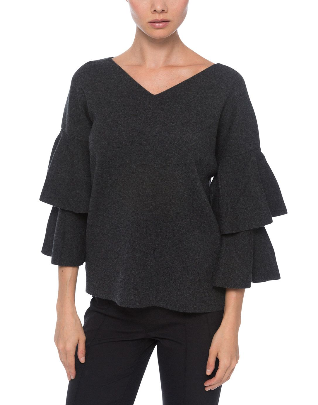 Charcoal wool vneck sweater with tiered sleeves ruffle sleeve