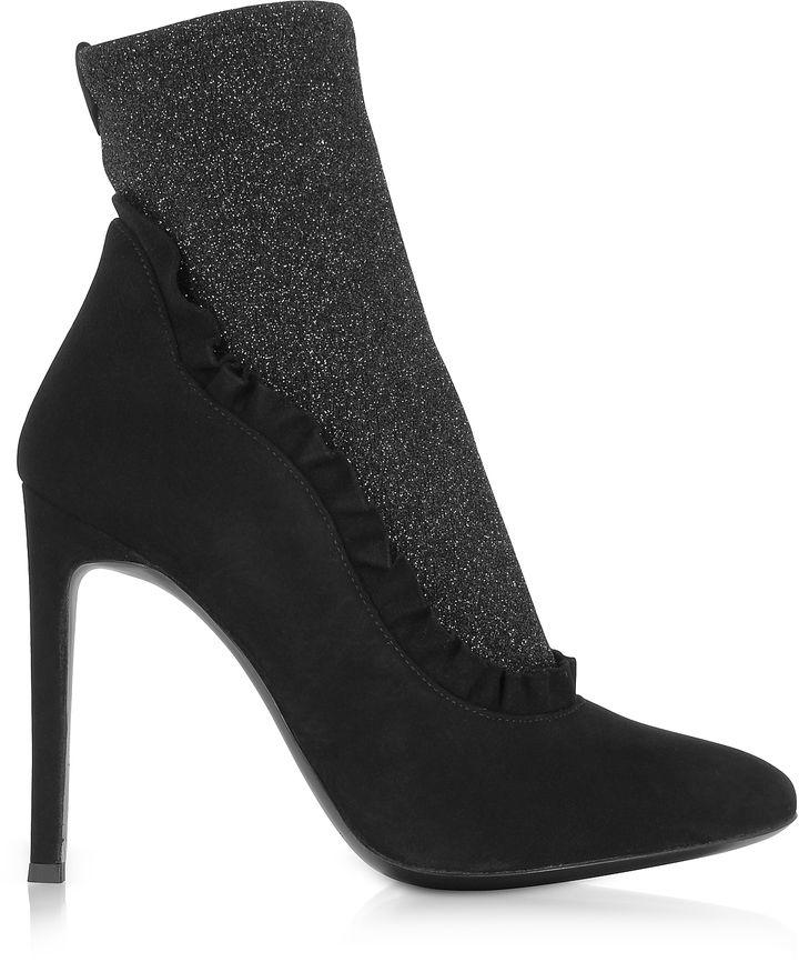 Giuseppe Zanotti Shoes, Glitter Stretch Fabric Heel Booties