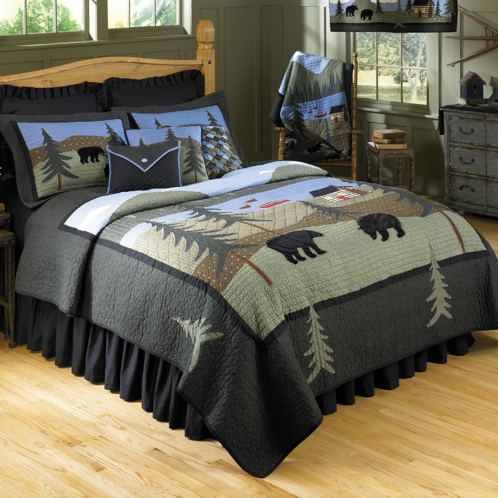 twin bear piece bed cabins set bedding beatrice comforters elk zion rustic cabin deer sets comforter lodge bath pin